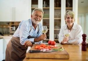 Older couple enjoying wine together